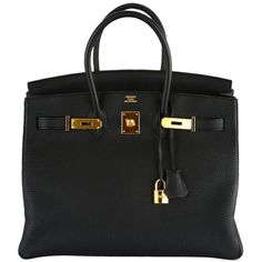 """NEW YORK FAVE"" HERMES BIRKIN BAG 35CM BLACK TOGO GOLD HARDWARE ❤ liked on Polyvore featuring bags, handbags, purses, bolsas, hermes, leather bags, hermes purse, hermès, black leather purse and real leather handbags"
