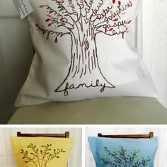 Embroidered Family Tree Pillow {Mother's Day Gift} - Tip Junkie