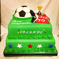 Soccer Cake Soccer Cupcakes, Soccer Cake, Birthday Cake, Friends, Rose, Desserts, Kids, Pies, Amigos