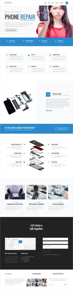 Special is a multipurpose bootstrap landing page template #phone #repair #service #webdesign with HTML Page Builder, unique and elegant designs with 28+ stunning homepage layouts 500+ elements and amazing features download now➩ https://wrapbootstrap.com/theme/special-landing-page-pack-html-builder-WB0J8L557?ref=datasata