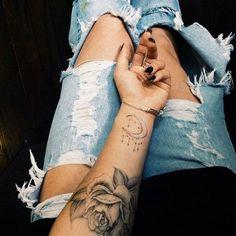 Wrist moon tattoo and flower tattoo   Tattoo   Pinterest