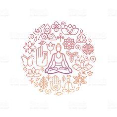 Vector logo design template - emblem for yoga class - Векторная графика Йога роялти-фри Vector Logo Design, Logo Design Template, Graphic Design, Lotus Outline, Massage Logo, Outline Designs, Liver Cleanse, Best Essential Oils, Free Vector Art