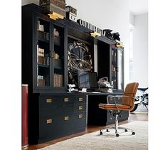Cory - Reynolds Office Suite with Glass Bookcase #potterybarn
