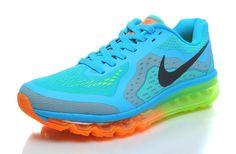 Nike Air Max + 2014 Running Femme (Bleues Gamma/Noir/Total Orange/Vert Fluo) Chaussures,HOT SALE!