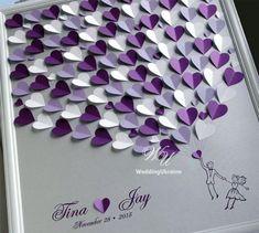 Wedding Guest Book Ideas - Silver And Purple Weddings Tree - Wedding ...