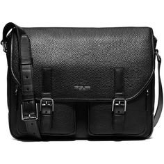 Michael Kors Bryant Leather Messenger Bag ($575) ❤ liked on Polyvore featuring men's fashion, men's bags, men's messenger bags, men, bags, apparel & accessories, black, mens leather messenger bag, mens messenger bags and mens courier bag