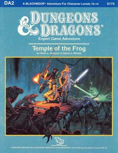 The party battles giant killer frogs with their crossbow, magic sword, and laser rifle and pistol. (Denis Beauvais, credited as Dennis, from D&D Expert module DA2: Temple of the Frogby Dave Arneson and David Ritchie, TSR, 1986.) The temple part of this adventure is adapted directly from the sample dungeon included in D&D Supplement II: Blackmoorin 1975, the first adventure ever published for an RPG, set in the first campaign world specifically created for a fantasy RPG.