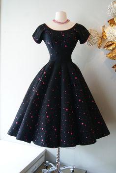 50's little black dress, pink polka dots - xtabay vintage