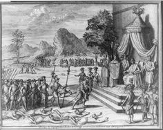 "Image showing Portuguese emissaries being received by the King of Kongo 1729. The caption translates ""pomp and splendor of the king of the Congo when he gives an audience to foreigners."