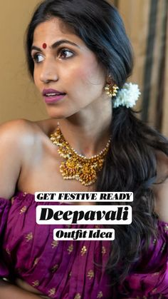 Ethnic Jewelry, Indian Jewelry, Ethnic Fashion, Indian Fashion, Diwali Outfits, Indian Makeup, South Indian Jewellery, Crop Blouse, Girls Dpz