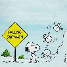 Snoopy Falling Snowmen Sign