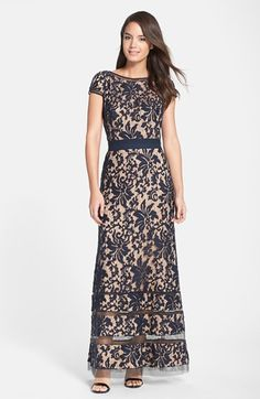 Free shipping and returns on Tadashi Shoji Cap Sleeve Lace Gown at Nordstrom.com. Sheer insets encircling the high neckline, cap sleeves and flared hem of an elaborate lace dress add intriguing dimension to its soft neutral palette.