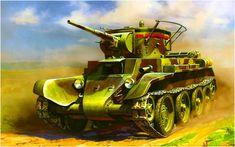 BT-7 modelo 1935 con torreta de T-26 y antena de radio del tipo herradura Poruchnevoy 71-TK. Andrey Zhirnov. Más en www.elgrancapitan.org/foro/