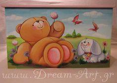forever friends ζωγραφική σε ξύλινο κουτί βάπτισης