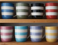 Green & Co. Makers Of Cornishware - fabulous mugs for that daily brew, in gorgeous range of colours. for 4 Cornish Cottage, Cornishware, Kitchenware, Tableware, China Cups And Saucers, Mug Printing, Simple Colors, Kitchen Gadgets, Kitchen Stuff