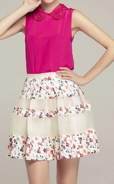 Floral panel skirt