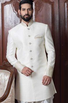 White Raw Silk Zari Embroidered IndoWestern Sherwani-IW813 Wedding Dresses Men Indian, Wedding Outfits For Groom, Wedding Dress Men, Wedding Suits, Indian Weddings, Wedding Couples, Wedding Ideas, Wedding Bands, Sherwani Groom
