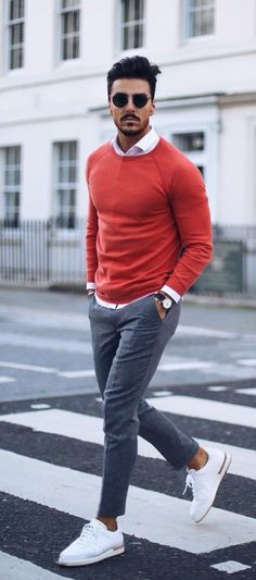Nice fall combo with white sneakers white Oxford shirt red crew neck and gray pants #menswear #menstyle #menfashion #mensfashion #fallfashion #falloutfits