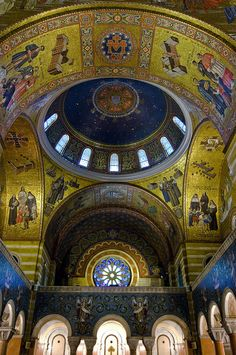 Historic Bay and Dome    Hear is a shot of the Historic Bay and Dome of the Cathedral Basilica of St Louis. This is looking towards the back of the Baslica. The above dome contains the great seal of the Archiocese of St Louis.