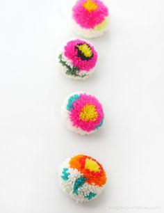 Pompones de flores con un pompón fabricante DIY - Tutorial