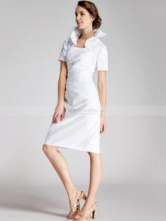 Two Pieces Pleated Taffeta Short Wedding Dress 0114508