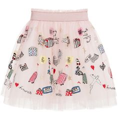 Simonetta Pink Tulle Skirt with Embroidered Travel Theme at Childrensalon.com