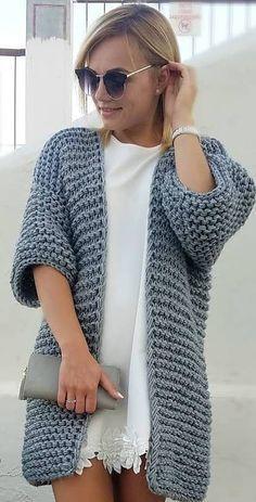 53 Sleek and Glamour Crochet Cardigan Pattern Ideas - Page 50 of 53 - Beauty Crochet Patterns! Cardigan Au Crochet, Crochet Coat, Crochet Jacket, Crochet Shawl, Crochet Clothes, Crochet Cardigan Pattern, Sweater Knitting Patterns, Crochet Patterns, Knit Fashion