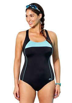 6f37171d54 Jessica London Women's Plus Size Cross Back Maillot By Aquabelle Mint  Border,8
