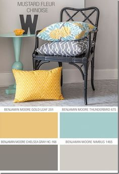 Love this color pallete...love grey with turquoise/mint and splash of yellow