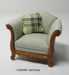 Overstuffed Arm Chair - walnut - Half Scale - Click Image to Close