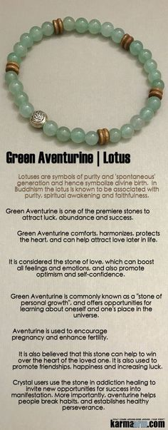 Reiki Healing Meditation Jewelry | Yoga Bracelets ♛ #Green Aventurine comforts, harmonizes, protects the heart, and can help attract love later in life. It is one of the premiere stones to attract luck, abundance and success. #reiki #Bracelets #BEADED #G
