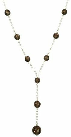 "Sterling Silver Faceted Smoky Quartz Tin Cup Y-Shape Necklace, 18"" Amazon Curated Collection. $55.00"