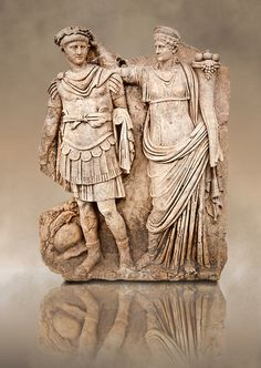 Roman relief sculpture of Aphrodite crowning Andreia. Aphrodite wears a peplos and palla. From Aphrodisias, Turkey. Ancient Rome, Ancient Art, Ancient History, Roman Sculpture, Sculpture Art, Art Romain, Aphrodite, Ancient Greek Sculpture, Roman Artifacts