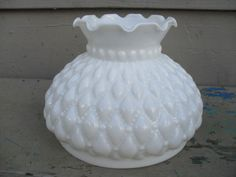 Vintage White or Milk Glass Diamond Quilted Pattern Oil Lamp Globe or Shade ***