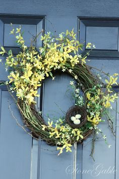 StoneGable Forsythia Wreath -   So Pretty for Spring and Easter!  Much nicer than the pre-made forsythia wreaths!!