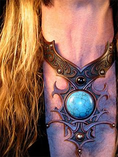 Ascending Soul Amulet #2 ~ hand-carved 'n' tooled leather neckwear with turquoise and onyx gemstones
