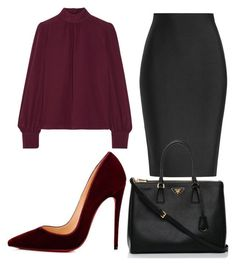 """Work"" by lizzythedizzy on Polyvore featuring Roland Mouret, Marc Jacobs, Christian Louboutin and Prada"