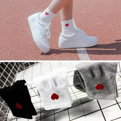 34e90bea5e921 1 Pair New Kawaii Cute Socks Women Red Heart Pattern Soft Breathable Cotton  Socks Ankle-High Casual Comfy Socks Fashion Style