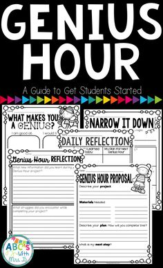 Check out this guide to get your students started with Genius Hour! This product includes pages to get your students brainstorming about their Genius Hour project, a Genius Hour proposal, daily reflections, and a writing project.