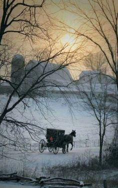 Winter Barn & Amish