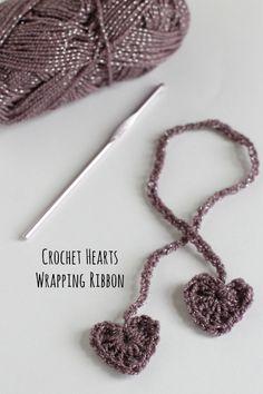 Crochet Hearts Wrapping Ribbon Tutorial