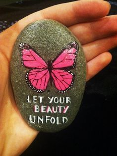 Let Your Beauty Unfold Hand Painted Butterfly Rock by RockRobyn