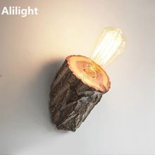 Compare Discount Wild Elm Log Retro Industrial Vintage Edison Wood Pith Loft Wall Light Cafe Bar Store Hall Club Coffee Shop Home Decor Wall Lamp Hotel Corridor, Wooden Lamp Base, Wood Lamps, Game Room Lighting, Sconce Lighting, Stairway Lighting, Strip Lighting, Led Wall Lamp, Wall Sconces