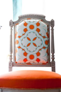 I& going to reupholster our dining chairs. Great idea -- solid seat with print back. (not these colors though! Painted Furniture, Diy Furniture, Furniture Stores, Do It Yourself Design, Love Chair, Rocking Chair, Interior Decorating, Interior Design, Take A Seat