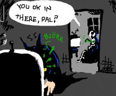 venom watchs tv, batman throws up in bathroom