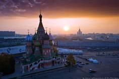 Sunrise over St Basils Cathedral, Moscow.