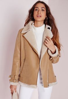 Shearling Pilot Jacket Camel - Coats and Jackets - Missguided