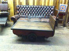 LARGE RUSTIC RECLAIMED COFFEE TABLE OAK OLD INDUSTRIAL MILL TROLLEY CART BARROW | eBay