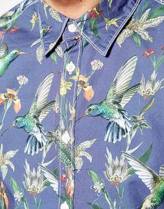 Image 3 ofPepe Shirt Macnimara Slim Fit Kingfisher Print