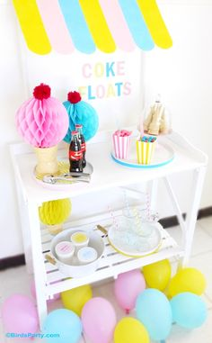 DIY Easy Ice Cream or Lemonade Stand Awning - perfect for summer parties!